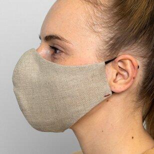 Daugkartinio naudojimo apsauginė veido kaukė natūralus linas, 1 vnt.