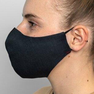 Daugkartinio naudojimo apsauginė veido kaukė tamsiai mėlynas linas, 1 vnt.