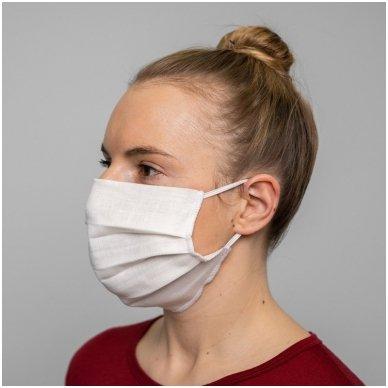 Daugkartinio naudojimo lininė apsauginė veido kaukė balta, 1 vnt. 4