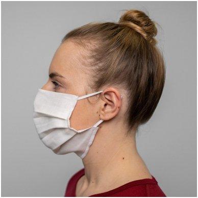 Daugkartinio naudojimo lininė apsauginė veido kaukė balta, 1 vnt. 5