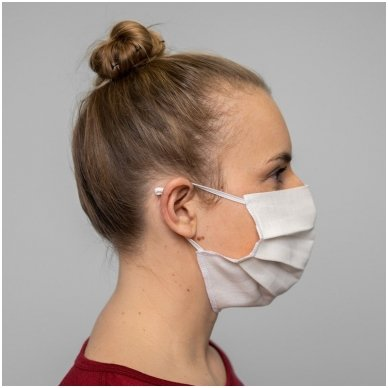Daugkartinio naudojimo lininė apsauginė veido kaukė balta, 1 vnt. 6