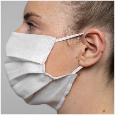 Daugkartinio naudojimo lininė apsauginė veido kaukė balta, 1 vnt. 7