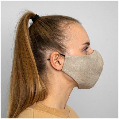 Daugkartinio naudojimo apsauginė veido kaukė natūralus linas, 1 vnt. 4