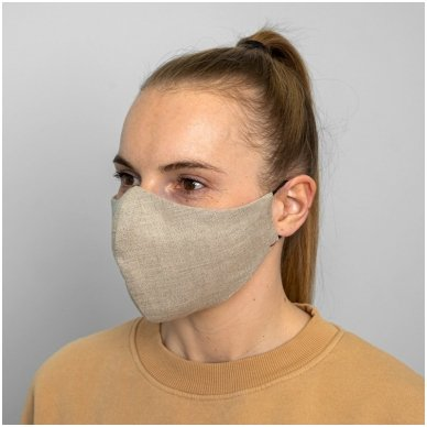 Daugkartinio naudojimo apsauginė veido kaukė natūralus linas, 1 vnt. 5