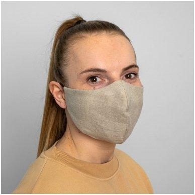 Daugkartinio naudojimo apsauginė veido kaukė natūralus linas, 1 vnt. 6
