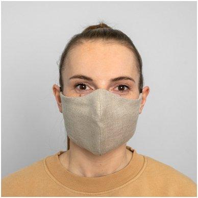 Daugkartinio naudojimo apsauginė veido kaukė natūralus linas, 1 vnt. 2