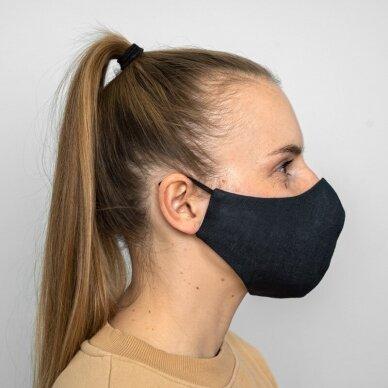 Daugkartinio naudojimo apsauginė veido kaukė tamsiai mėlynas linas, 1 vnt. 3