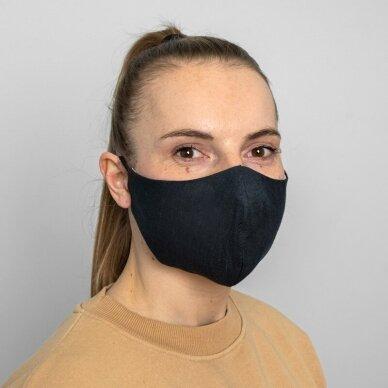 Daugkartinio naudojimo apsauginė veido kaukė tamsiai mėlynas linas, 1 vnt. 4
