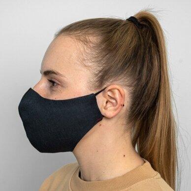 Daugkartinio naudojimo apsauginė veido kaukė tamsiai mėlynas linas, 1 vnt. 2