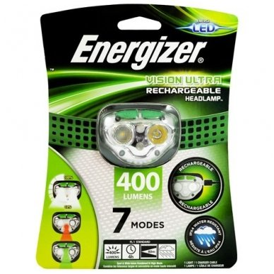 Energizer įkraunamas prožektorius ant galvos Vision Ultra 400 Lumens