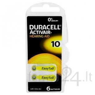 Klausos aparatų baterijos Duracell 10, 6 vnt.