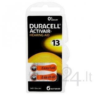 Klausos aparatų baterijos Duracell 13, 6 vnt.