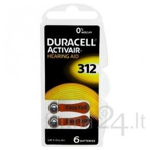 Klausos aparatų baterijos Duracell 312, 6 vnt.