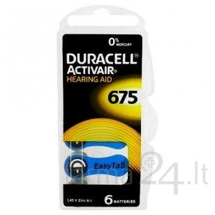 Klausos aparatų baterijos Duracell 675, 6 vnt.