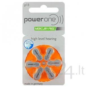 Klausos aparatų baterijos Power One 13, 6 vnt.