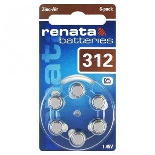 Klausos aparatų baterijos Renata 312, 6 vnt.