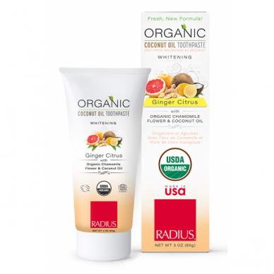 Radius ekologiška balinanti dantų pasta Organic Ginger Citrus, 85 g