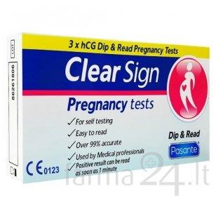 Pasante nėštumo testai Clear Sign Dip & Read (juostelė), 3 vnt.