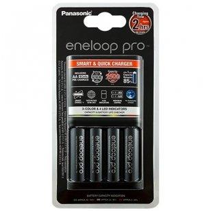 Panasonic Eneloop elementų įkroviklis Pro Smart & Quick su 4 AA elementais